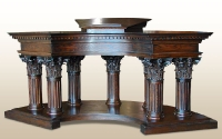 custom made podium, carved wooden sermon table