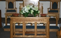 custom pulpit furniture, communion table, stained wood
