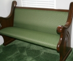 custom upholstered sanctuary furniture, cushioned church pew, dark wood stain