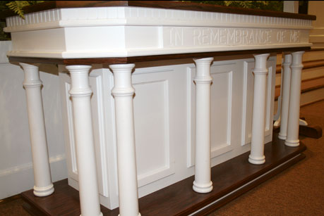 custom sanctuary pulpit furniture, communion table, sermon platform