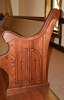wooden end, stained decorative pew, custom engraved cross