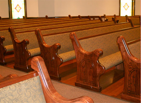 padded church pews, pews with custom upholstery