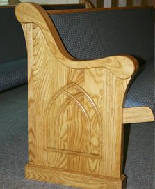 upholstered pews, light stain, custom design solid wood pew arm, church furniture with long lifespan