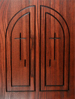 custom cross design carved stained Wood church pew end