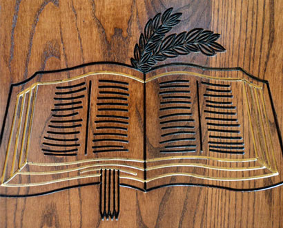 custom Bible design carved stained Wood church pew end