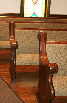 custom upholstered church pews