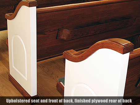 Upholstered Seat Church Pew with Finished Back