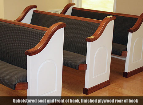 custom pews, solid wood backs, upholstered seats