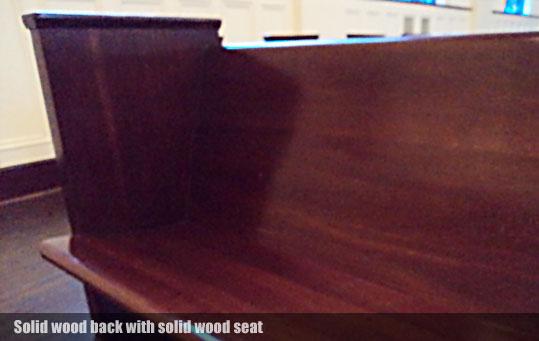 solid wood back custom church pew