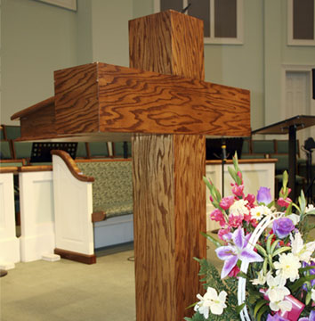 custom pulpit furniture, stained oak wood cross