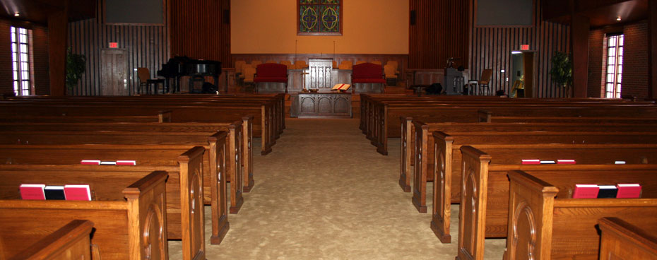 sanctuary restoration, restored pulpit furniture, restored church pews