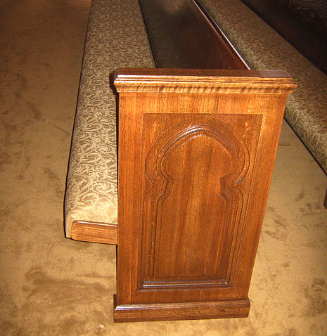 restored wooden church pews, reupholstered pew sanctuary seating
