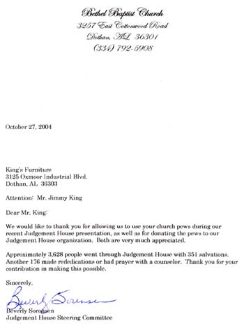 Bethel Baptist Thank You Letter
