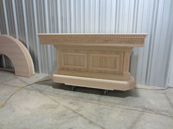 unfinished communion table