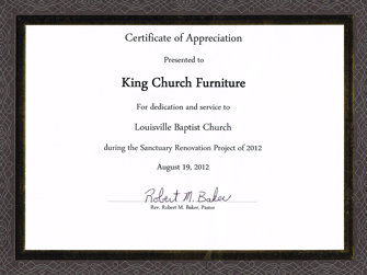 Louisville Baptist Church Certificate